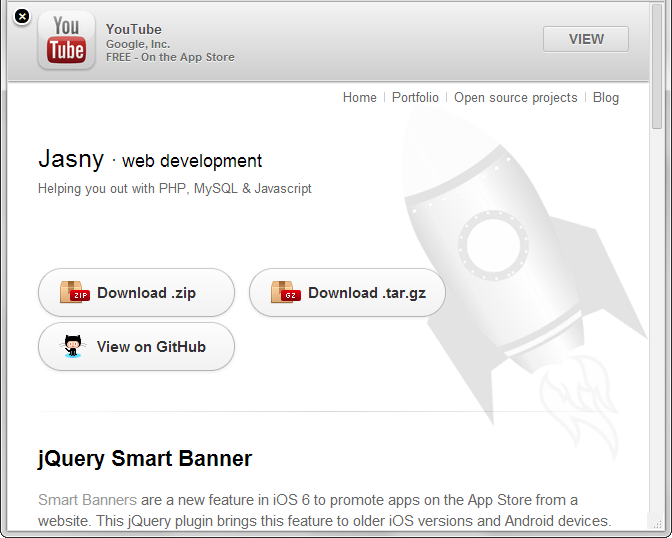 jQuery Smart Banner Screenshot