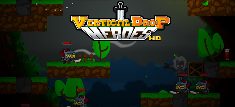 Vertical Drop Heroes HD logo & masthead
