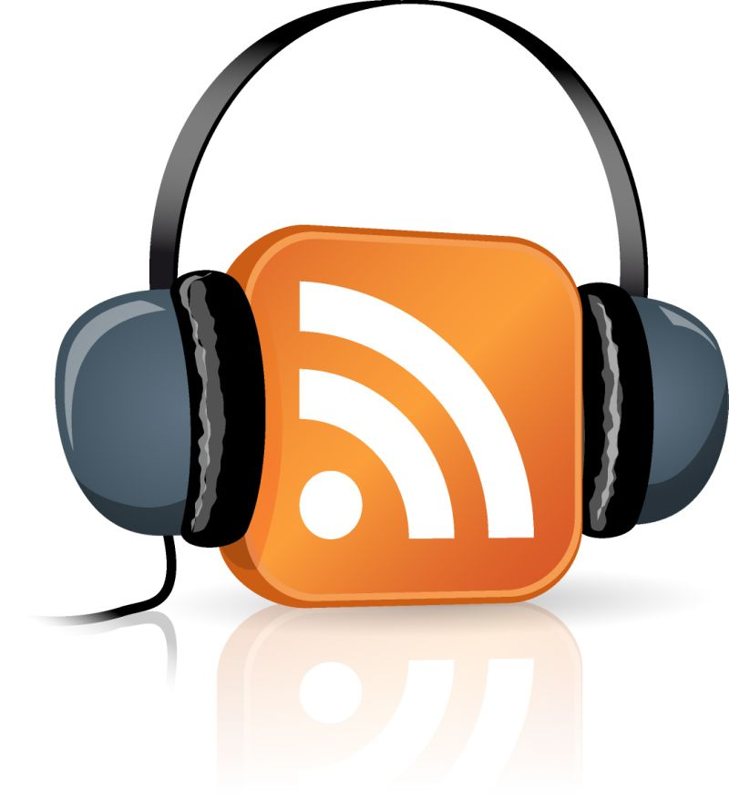 RSS feed logo wearing headphones