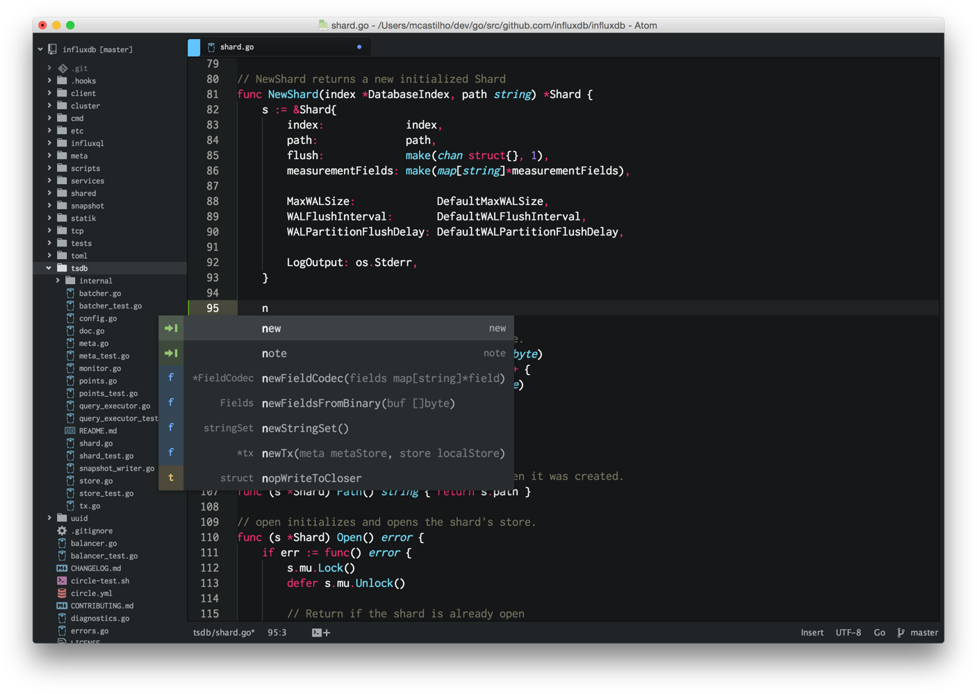 Screenshot of Atom Editor configured for Go development
