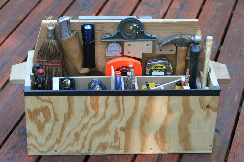 Stock Photo of a wooden toolbox full of tools