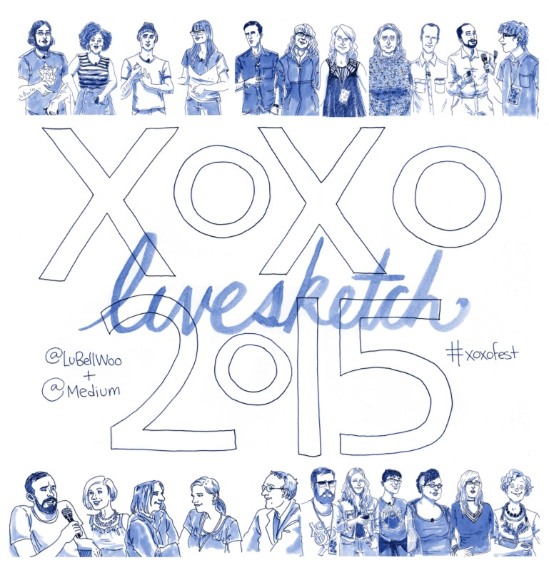 Image from medium post about Lucy Bellwood livesketches from XOXO conference