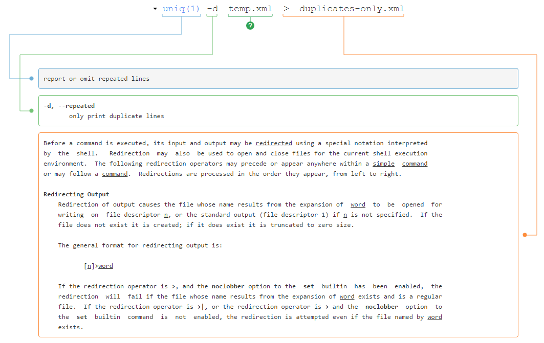 Screenshot of explanation of uniq command from explainshell.com