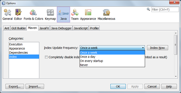 Screenshot of Maven configuration dialog window in NetBeans IDE