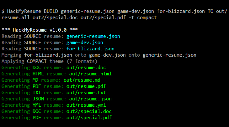 HackMyResume screenshot of command line generation