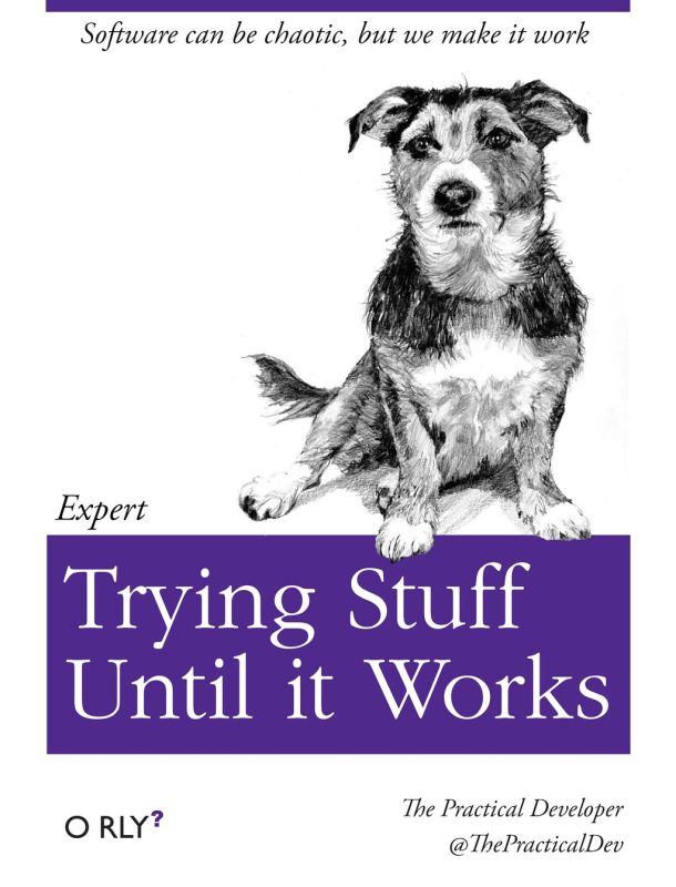 "Spoof O'Reilly book cover entitled ""Expert Trying Stuff Until it Works"""