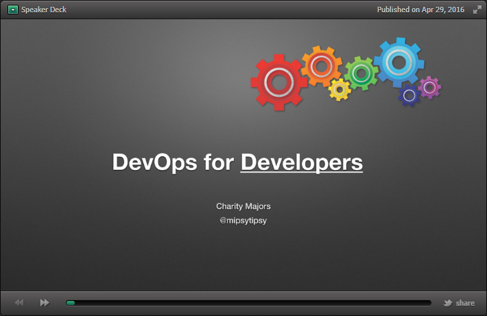 First slide from DevOps for Developers slide deck