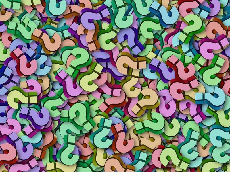 Stock photo of a bunch of question marks