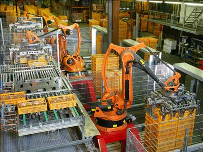 Stock photo of robots stacking pallets in a factory from Wikipedia